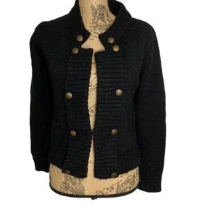 Razzle Dazzle black military style knit cardigan